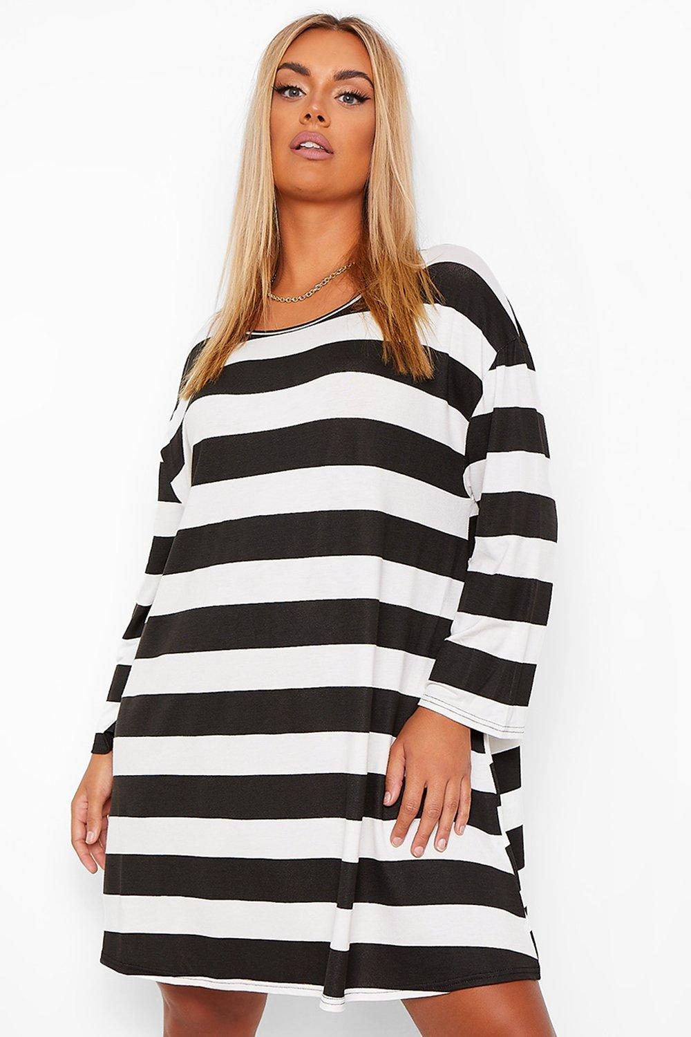 Plus Tonal Stripe Oversized Swing t-Shirt Dress 14