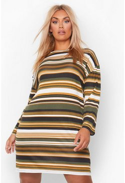 Khaki Plus Stripe Oversized T-Shirt Dress