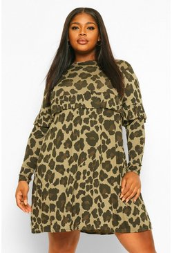 Khaki Plus Leopard Ruffle Smock Dress