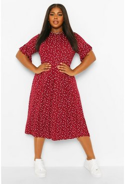 Plus disty floral ruffle midi smock dress, Berry rouge