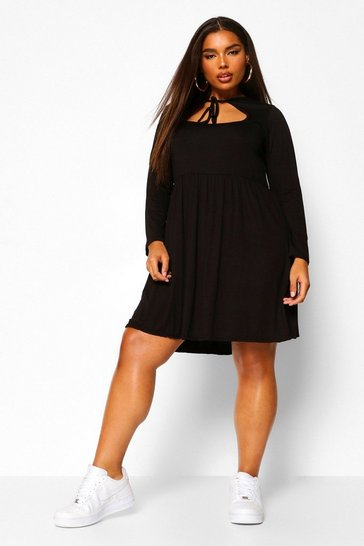 Black Plus long sleeve cut out smock dress