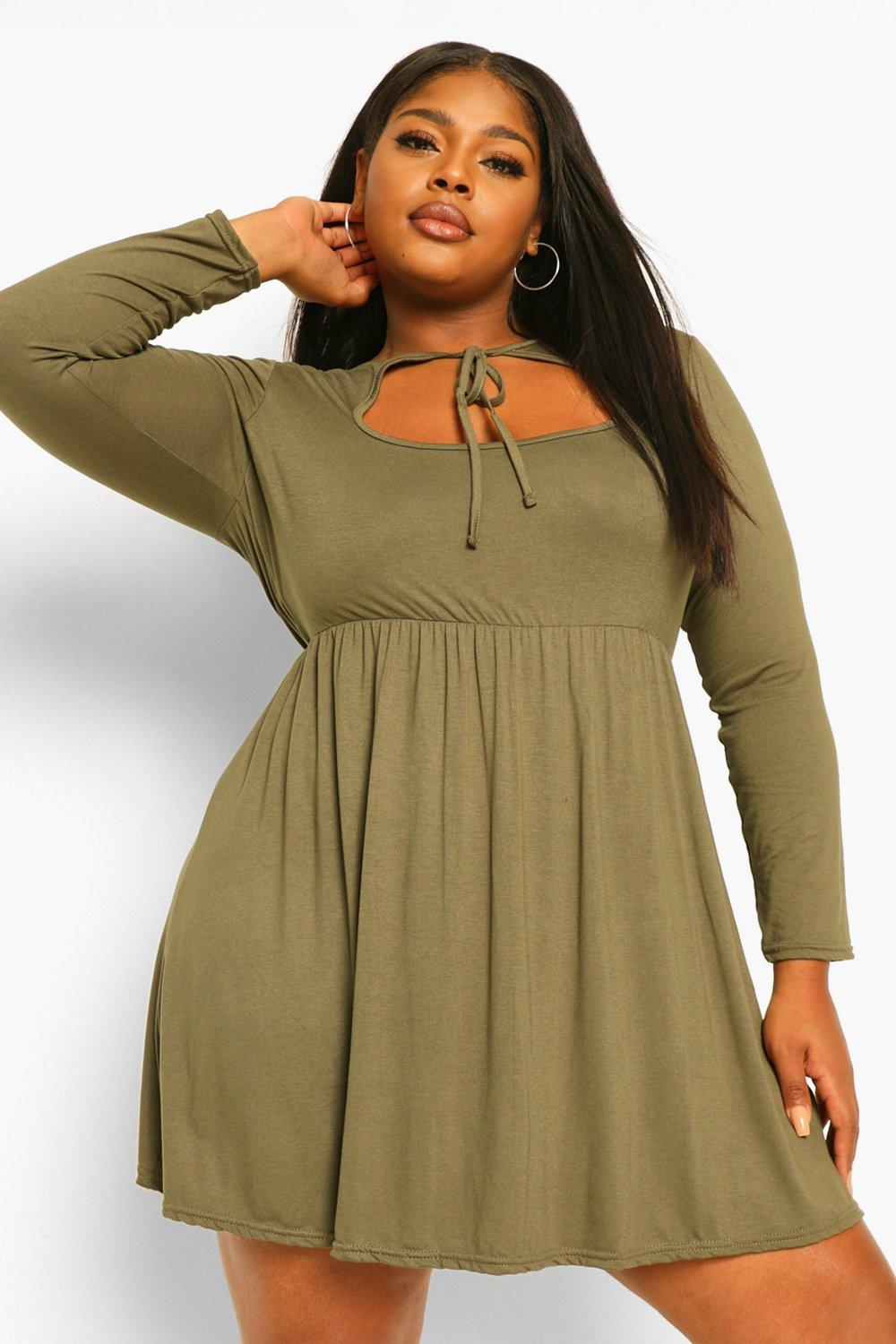 Plus long sleeve cut out smock dress 16