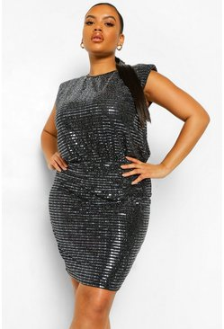 Silver Plus Shoulder Pad Sequin Bodycon Dress