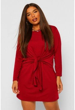 Wine red Plus Tie Front Jersey Wrap Dress