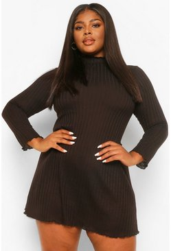 Black Plus Soft Rib high Neck Swing Dress