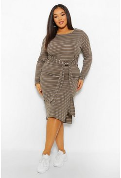 Khaki Plus Stripe Tie Front Midi Dress