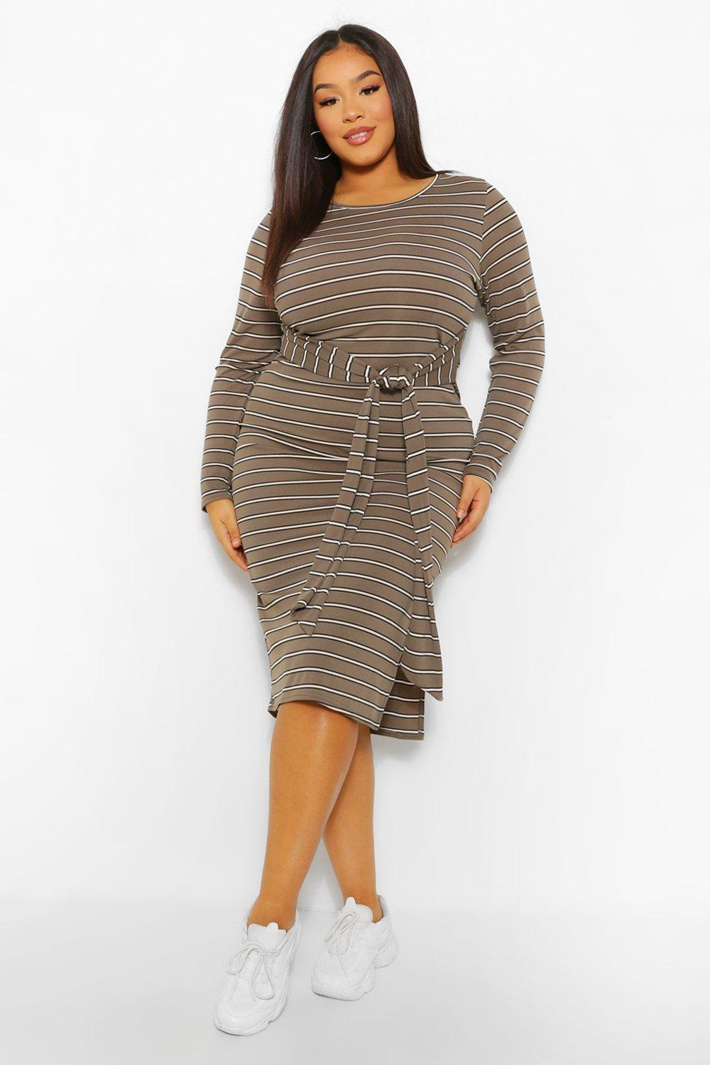 Plus Stripe Tie Front Midi Dress 14