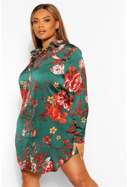 Green Plus Mono Floral Printed Shirt Dress