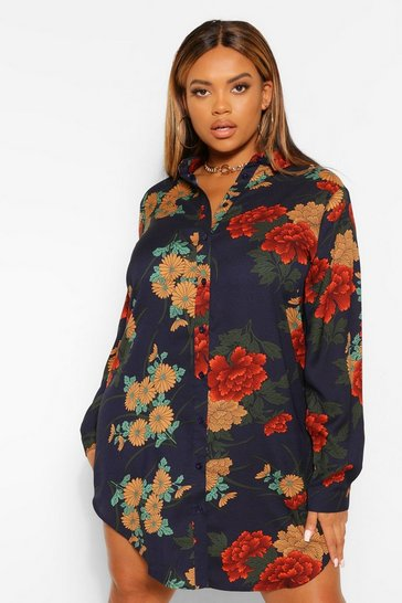 Navy Plus Floral Satin Shirt Dress