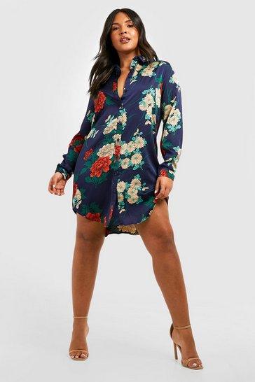 Navy Plus Floral Satin Shirt Dress