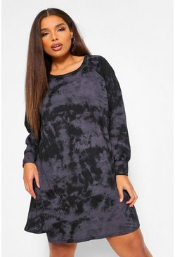 Black Plus Tie Dye Sweat Dress