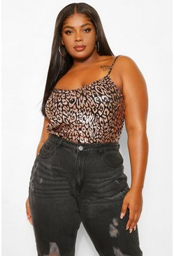 Gold metallic Plus Sequin Leopard Cami