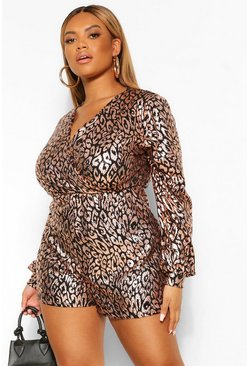 Gold Plus Sequin Leopard Wrap Playsuit