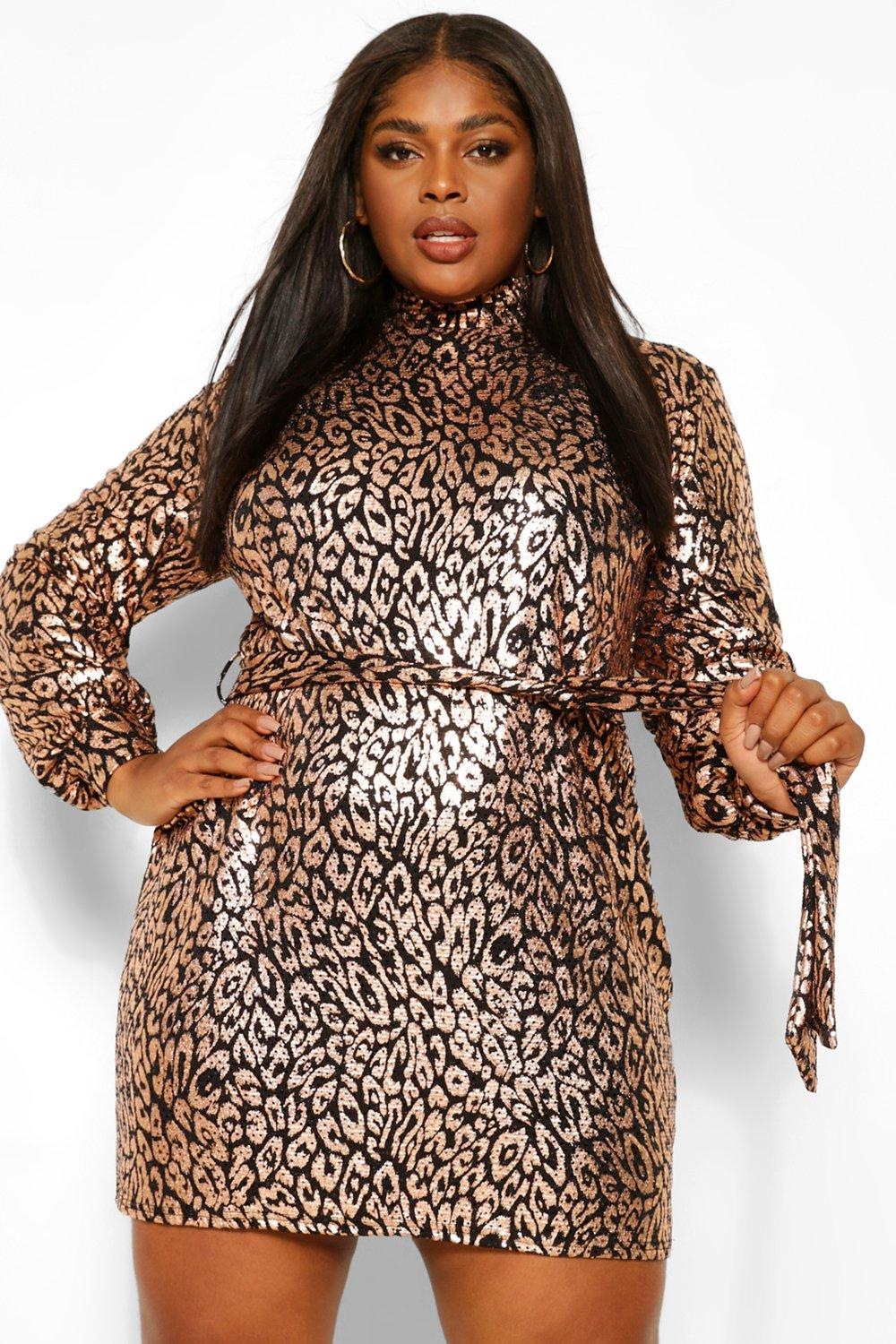 Plus Sequin Leopard High Neck Shift Dress 16