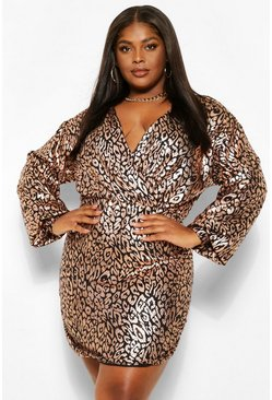 Gold metallic Plus Sequin Leopard Wrap Bodycon Dress