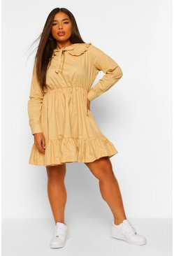 Stone beige Plus Cotton Collar Ruffle Smock Dress