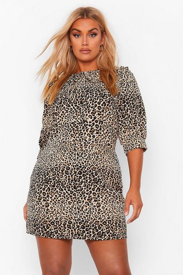 Brown Plus Leopard Collar Woven Shirt Dress