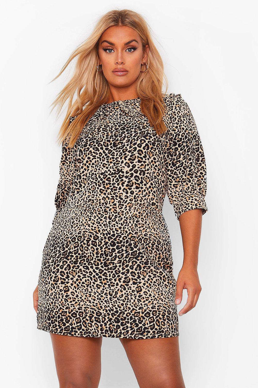 Plus Leopard Collar Woven Shirt Dress 14