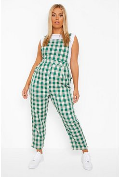 Green Plus Check Pinafore Jumpsuit