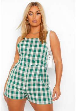 Green Plus Check Pinafore Playsuit