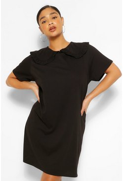 Black Plus Collar Detail T-Shirt Dress