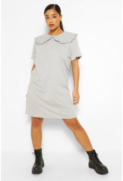 Grey Plus Collar Detail T-Shirt Dress