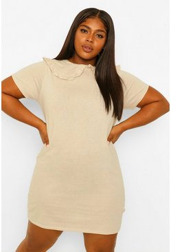 Stone beige Plus Collar Detail T-Shirt Dress
