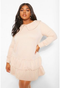 Stone beige Plus Collar Sweat Smock Dress
