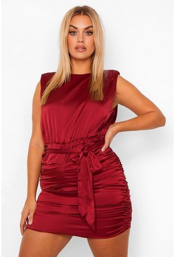 Berry red Plus Satin Shoulder Pad Ruched Dress