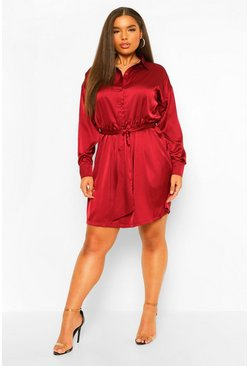 Berry red Plus Satin Belted Shirt Dress