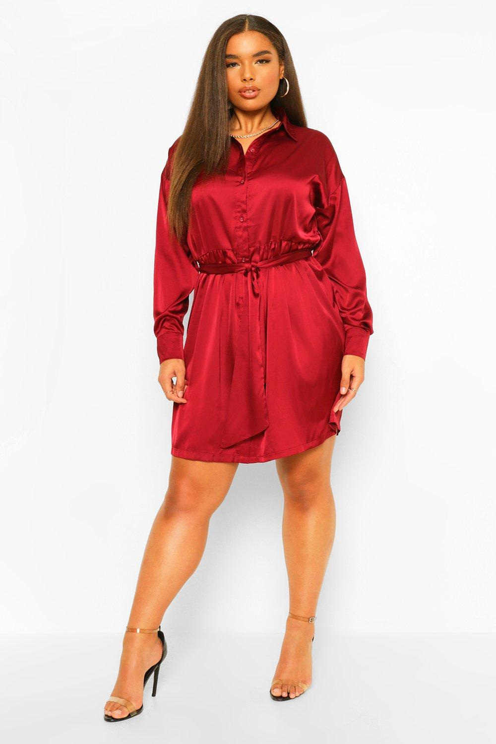 Plus Satin Belted Shirt Dress 8