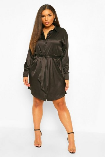 Black Plus Satin Belted Shirt Dress