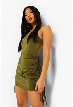 Khaki Petite Ruched Backless Bodycon Dress