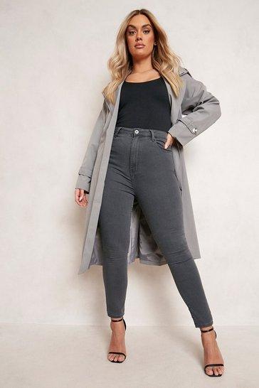 Grey Plus 5 Pocket Stretch Skinny Jeans