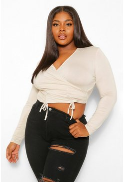 Stone beige Plus Ruched Wrap Crop Top
