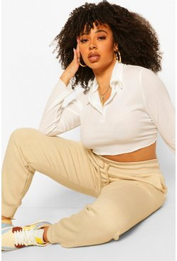 Ivory Plus Button Up Collar Crop Polo T-Shirt