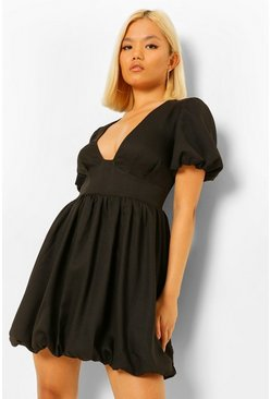 Black Petite Puff Ball Sleeve and Hem Skater Dress