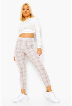 Stone Petite Side Stripe Check Leggings