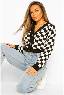Stone Petite Knitted Check Cropped Cardigan