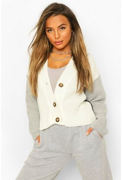 Black Petite Knitted Colour Block Cardigan