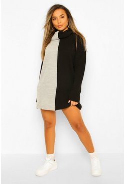 Petite Knitted Roll Neck Spliced Jumper Dress, Black schwarz