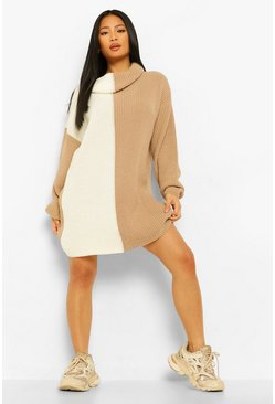 Nude Petite Knitted Roll Neck Spliced Jumper Dress