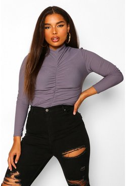 Petrol Plus Ruched Front Funnel Neck Bodysuit
