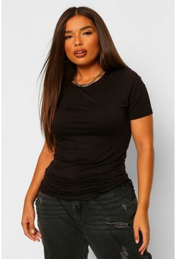 Black Plus Ruched Side T-shirt