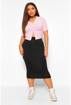 Black Plus Strakke Midaxi Rok