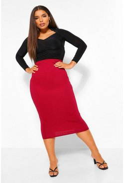 Wine Plus Fitted Midaxi Skirt