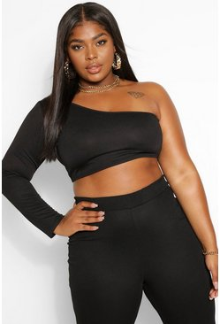 Black Plus One Shoulder Crop Top