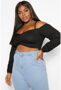 Black Plus Cold Shoulder Crop Top