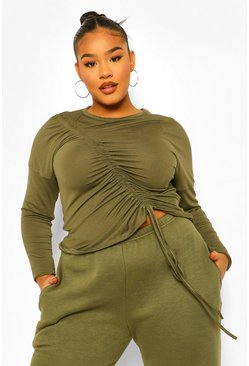 Khaki Plus Ruched Front Long Sleeve T-Shirt