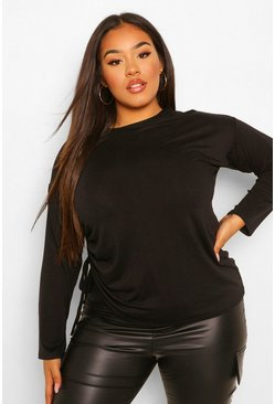 Black Plus Ruched Side Long sleeve T-shirt